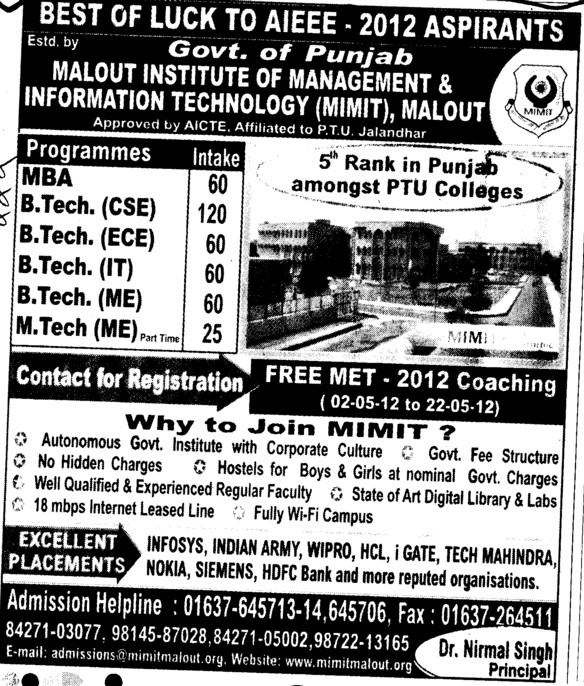 BTech,MTech and PhD Programmes etc (Malout Institute of Management and Information Technology MIMIT)