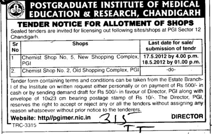 Chemist Shop and Shoppimg Complex etc (Post-Graduate Institute of Medical Education and Research (PGIMER))