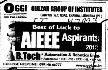 Best of Luck AIEEE Aspirants 2012 (Gulzar Group of Instituties Khanna)