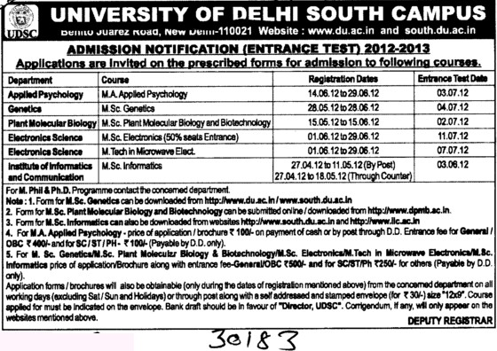 MA,MSc and MTech Courses etc (Delhi University)