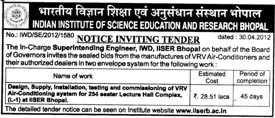 Design,Supply and Installation of VRV Air Conditioning (Indian Institute of Science Education and Research (IISER))