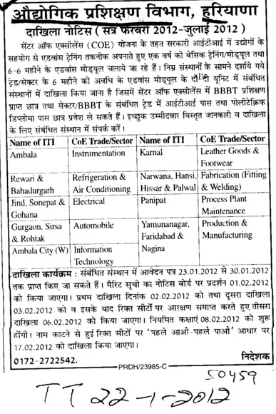 Basic Training and Module (Department of Industrial Training and Vocational Education Haryana)