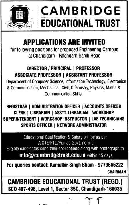 Professor,Asstt Professor and Associate Professor etc (Cambridge Engineering College)