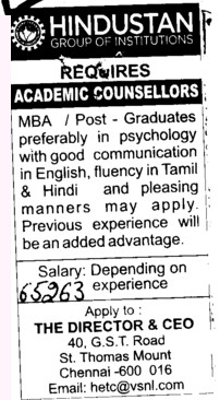 Academic Counsellors (Hindustan Group of Institutions)