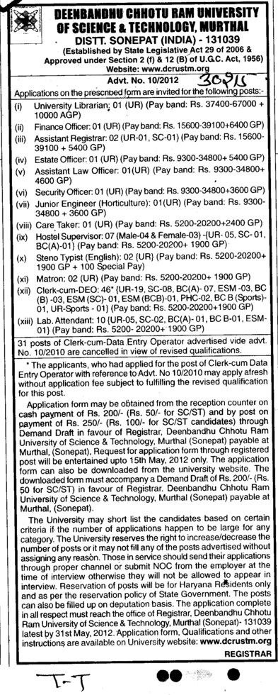 Asstt Law Officer and Steno Typist etc (Deenbandhu Chhotu Ram University of Science and Technology)