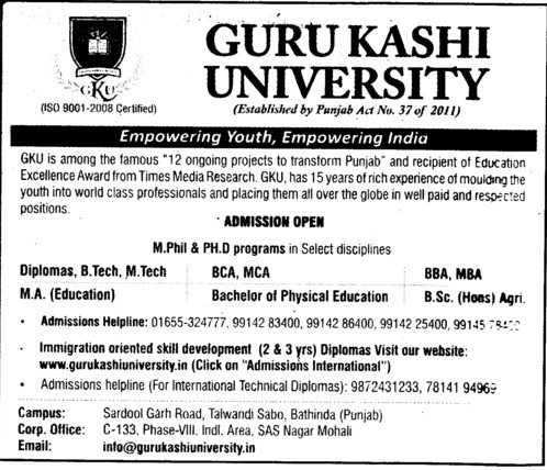 BBA,BCA,MCA and MBA Courses etc (Guru Kashi University)