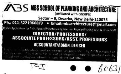 Director,Professor and TNP officer (MBS School of Planning and Architecture)