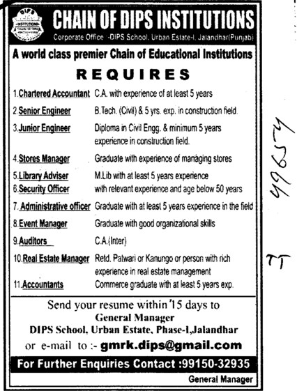 Senior and Hunior Engineer etc (Chain of DIPS Institutions)