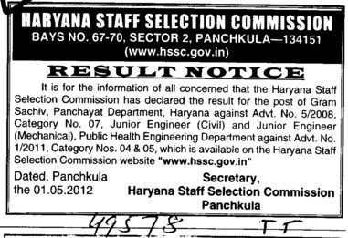 Result Notice 2012 (Haryana Staff Selection Commission (HSSC))