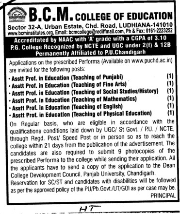 Asstt Professor for various posts (BCM College of Education)