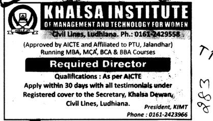 Director on regular basis (Khalsa Institute of Management and Technology for Women)