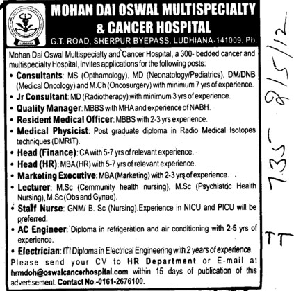 Consultants,Jr Consultants and Lecturer etc (Mohan Dai Oswal College of Nursing)