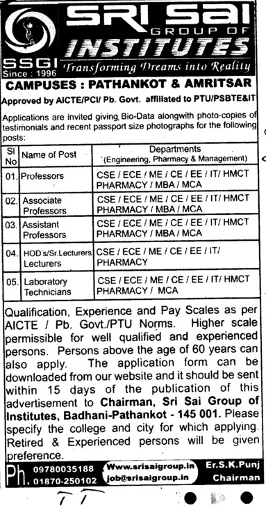 Professor,Asstt Professor and Associate Professor etc (Sri Sai Group of Instituties (SSGI))