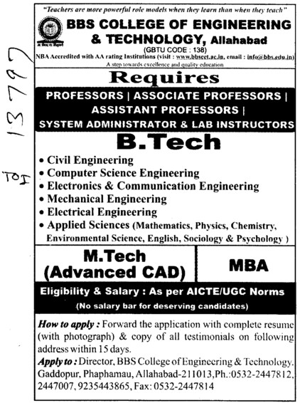 Professor,Asstt Professor and Associate Professor etc (BBS College of Engineering and Technology)