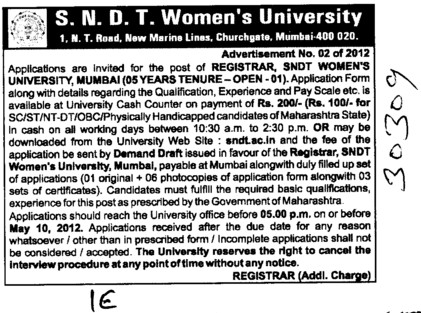 Registrar on regular basis (SNDT Women University)