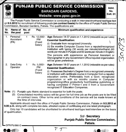 Personal Assistant and Data Entry Operator (Punjab Public Service Commission (PPSC))