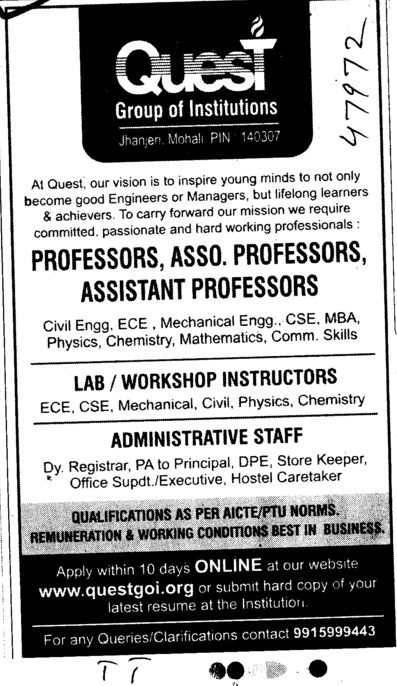 Administrative Staff,Professor,Asstt Professor and Associate Professor etc (Quest Group of Institutions)