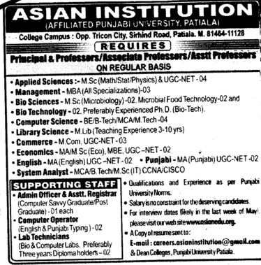 Principal,Lecturer and Librarian etc (Asian Institution)