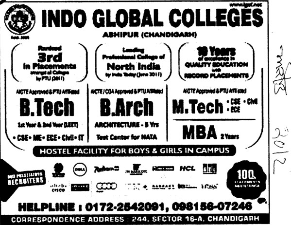 BTech,BArch and MTech Courses (Indo Global Group of Colleges)