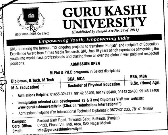 BCA,MCA and MA Courses (Guru Kashi University)