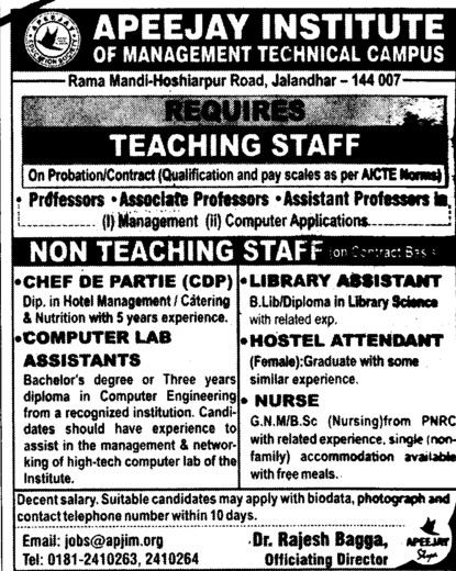 Professor,Asstt Professor and Associate Professor etc (Apeejay Institute of Management)
