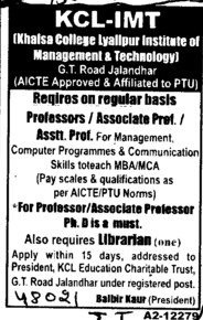 Professor,Asstt Professor and Associate Professor etc (KCL Institute of Management and Technology)