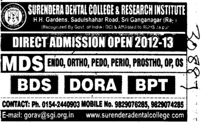 BDS,MDS and BPT Courses (Surendera Dental College & Research Institute)