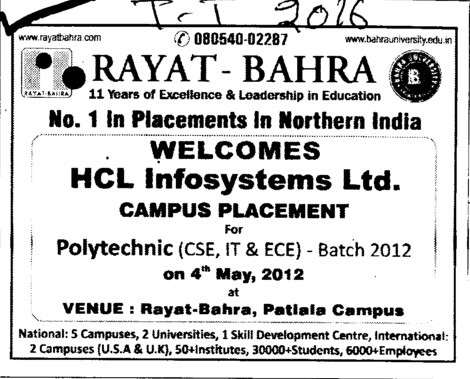 No1 in Placement in Northern India (Rayat and Bahra Group)