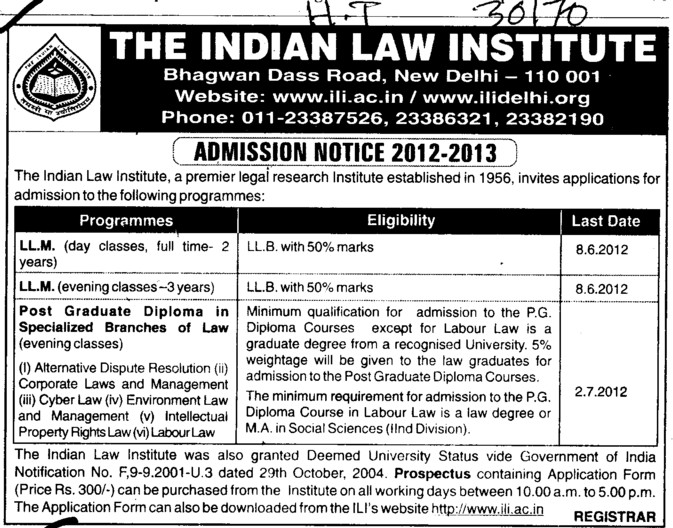 Three years LLM Courses (Indian Law Institute)