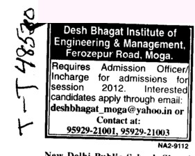 Admission Officer (Desh Bhagat Institute of Engineering and Management)