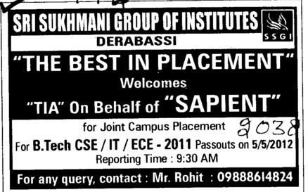 The Best in Placement (Sri Sukhmani Group of Institutes)