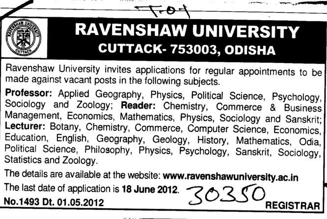 Professor,Reader and Lecturer (Ravenshaw University)