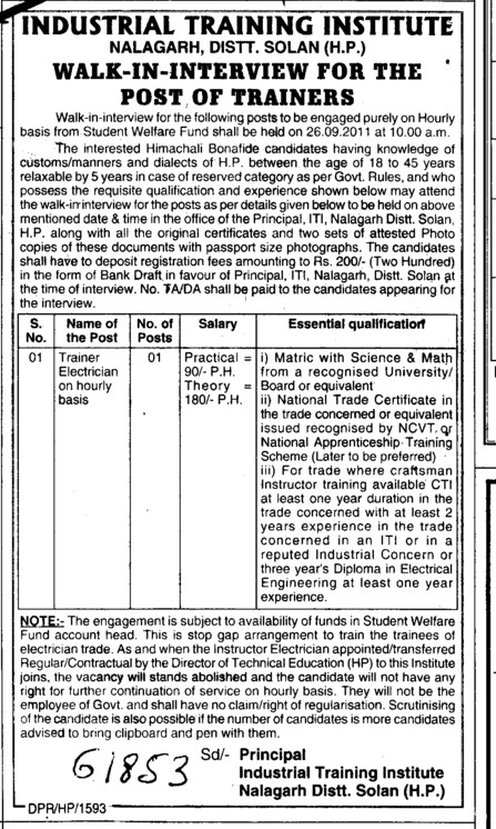 Trainer Electrician on hourly basis (Industrial Training Institute (ITI))