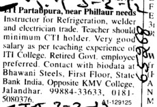 Refrigeration and Welder (Industrial Training Institute (ITI) Partabpura)