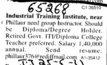 Group Instructors (Industrial Training Institute (ITI) Partabpura)