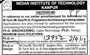 MTech,MA and PhD Programmes etc (Indian Institute of Technology (IITK))