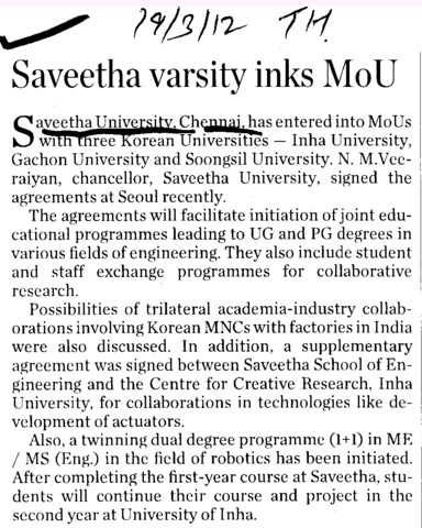 Saveetha Varsity inks MoU (Saveetha University)