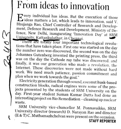 From ideas to innovation (SRM University)