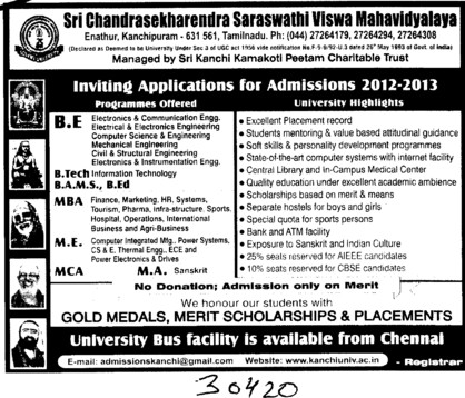 BE,BTech,MBA and MCA Courses etc (Sri Chandrasekharendra Saraswathi Vishwa Mahavidyalaya Deemed University)