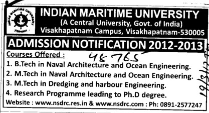 BTech,MTech and Research Programmes (Indian Maritime University)