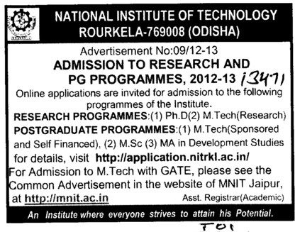 Research Programmes and Postgraduate Programmes (National Institute of Technology (NIT))