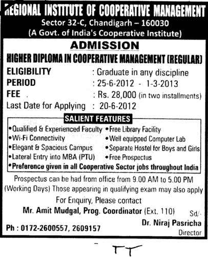 Diploma in Cooperative Management (Regional Institute of Cooperative Management)