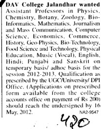 Asstt Professor for various posts (DAV College)