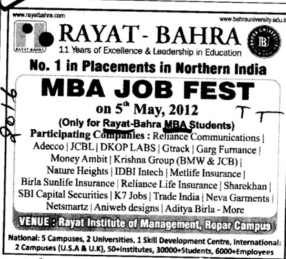 MBA Job Fest 2012 (Rayat and Bahra Group)