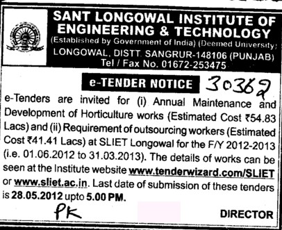 Annual Maintenance and Development of Hortoculture works (Sant Longowal Institute of Engineering and Technology SLIET)