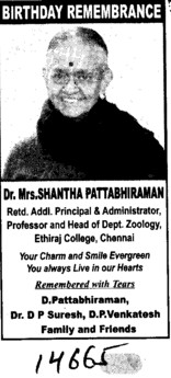 Birthday Remembrance (Ethiraj College for Women)