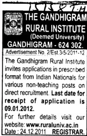 Non Teaching Faculty (Gandhigram Rural Institute University)