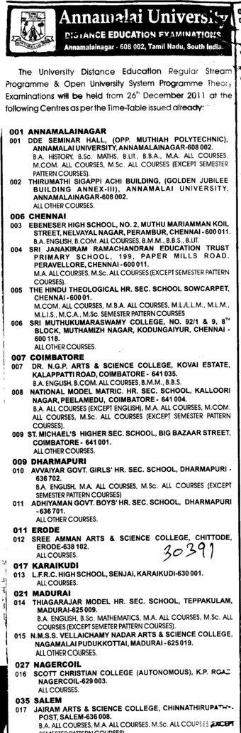 BA,BBA and BTech Courses (Annamalai University)