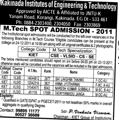 MTech 2011 (Kakinada Institute of Engineering and Technology (KIET))