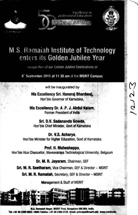 MS Ramaiah Institute of Technology (MSRIT) Bengaluru ...
